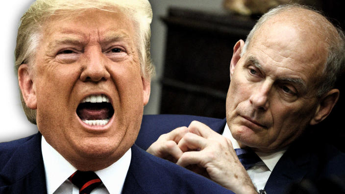 Former White House chief of staff John Kelly and President Trump. (Photo illustration: Yahoo News; photos: AP, Evan Vucci/AP)