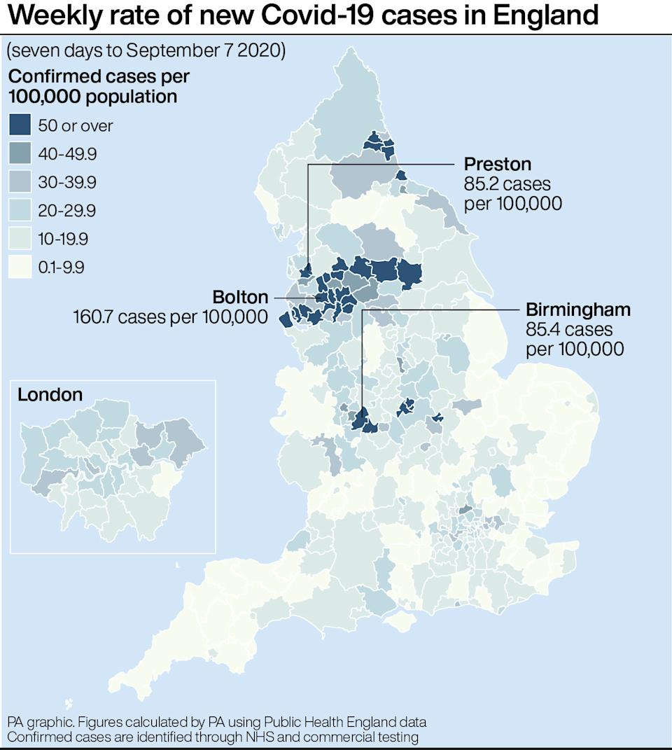 Where the latest COVID cases have been confirmed. (PA Graphics)