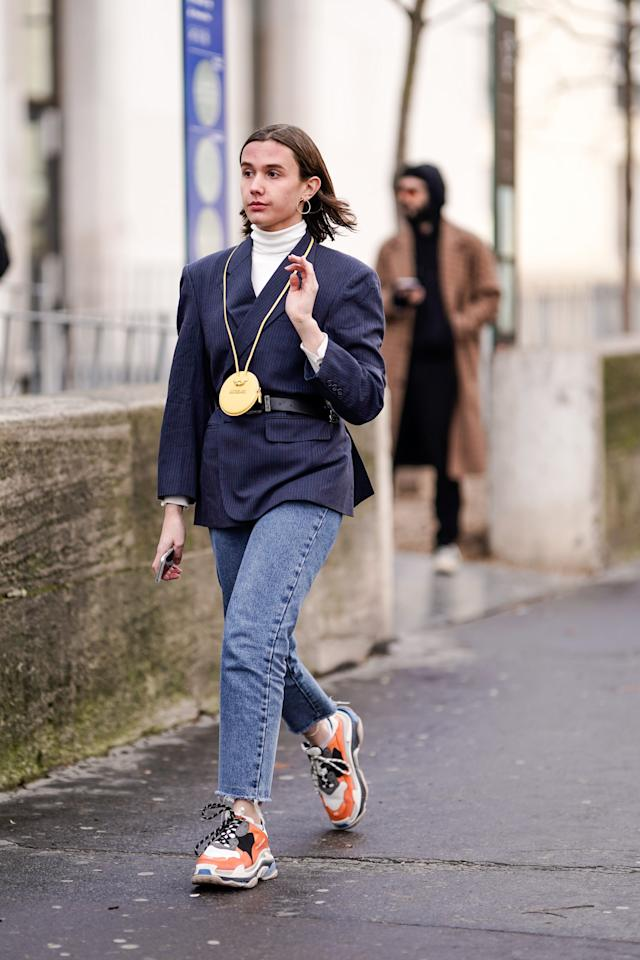 <p>Wear one around your neck and keep it casual with a blazer, jeans, and sneakers.</p>