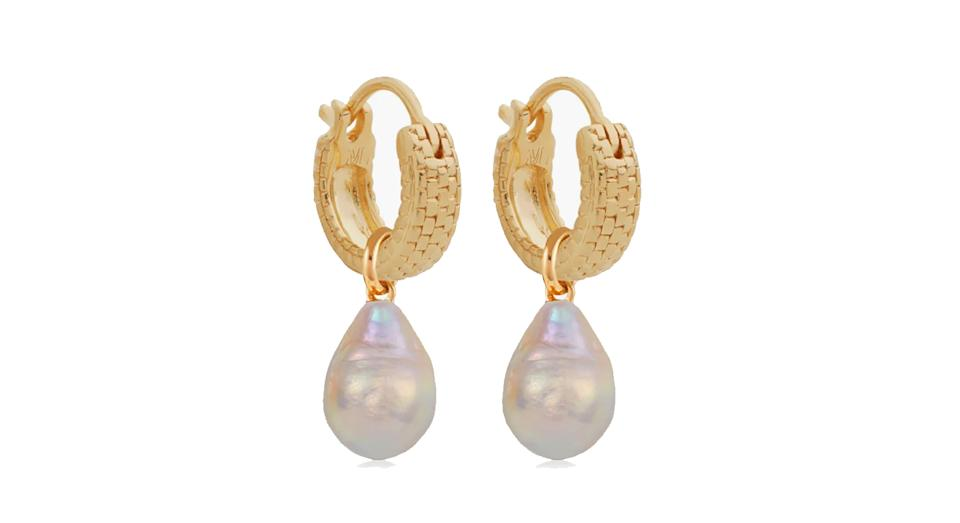 Doina Pearl and Huggie Earrings Set