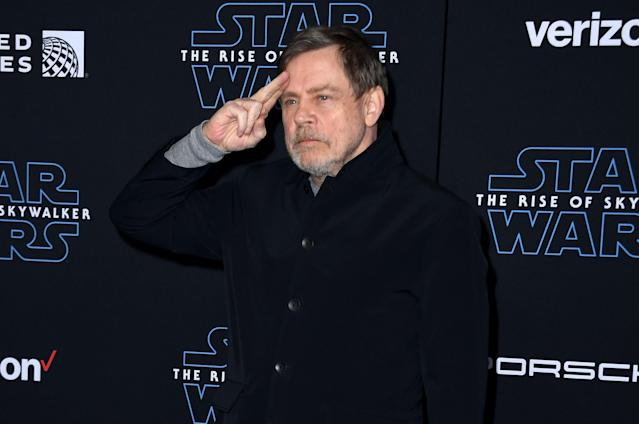 "Mark Hamill arrives for the world premiere of Disney's ""Star Wars: Rise of Skywalker"" in Hollywood in 2019. (VALERIE MACON/AFP via Getty Images)"