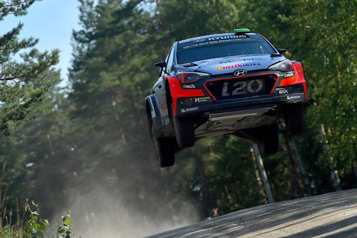 <p>Hayden Paddon of New Zealand and John Kennard of New Zealand compete in their Hyundai Motorsport WRT Hyundai i20 WRC during the Shakedown of the WRC Finland on July 28, 2016 in Jyvaskyla, Finland. (Photo: Massimo Bettiol/Getty Images)</p><p><br></p>