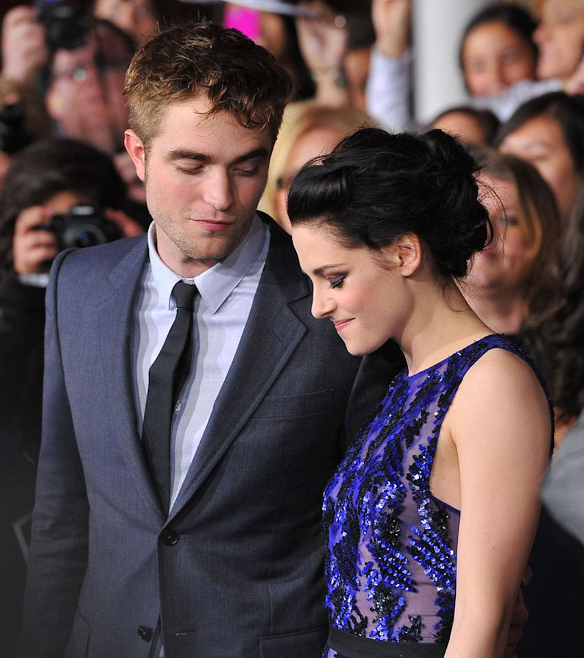 "<p class=""MsoNoSpacing"">Robert Pattinson and Kristen Stewart share a moment at the red carpet premiere for 'The Twilight Saga: Breaking Dawn – Part 1' in Los Angeles, CA. (Photo by Vince Bucci/Yahoo!)</p>"