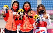 <p>Bronze medalist Sky Brown of Team Great Britain (right), Gold medalist Sakura Yosozumi of Team Japan (center) and Silver medalist Kokona Hiraki of Team Japan (left) celebrate after the Women's Skateboarding Park Finals on day twelve of the Tokyo 2020 Olympic Games at Ariake Urban Sports Park on August 04, 2021 in Tokyo, Japan. (Photo by Ezra Shaw/Getty Images)</p>