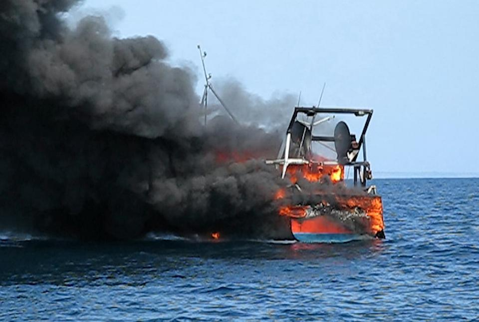 The boat sank following the fire. (SWNS)