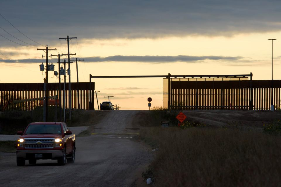 New sections of the border wall are in process of being built in Hidalgo, Texas on January 11, 2021. - Chad Wolf, the acting secretary of the Department of Homeland Security, announced he was resigning January 11 as worries rose over more violence during President-elect Joe Biden's inauguration next week. Wolf's resignation came a day before Trump is to travel to the US-Mexico frontier near Alamo, Texas to inspect the border wall he has had built. (Photo by Mark Felix / AFP) (Photo by MARK FELIX/AFP /AFP via Getty Images)
