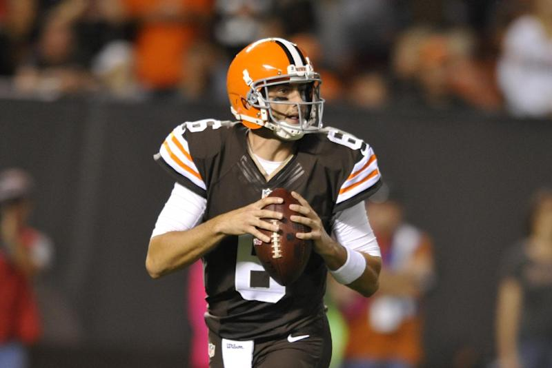 FILE - Cleveland Browns quarterback Brian Hoyer looks looks for a receiver against the Buffalo Bills in the first quarter of an NFL football game in this Oct. 3, 2013 file photo taken in Cleveland. When starter Brandon Weeden sprained his right thumb in Week 2, Hoyer jumped from No. 3 on the depth chart to No. 1. Finally getting a chance to play after five years as an NFL backup, Hoyer proceeded to lead Cleveland to two victories in a row. (AP Photo/David Richard, File)