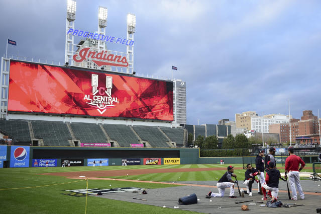 Members of the Cleveland Indians are shown during batting practice at a team workout, Wednesday, Oct. 4, 2017, in Cleveland. The Indians will play the New York Yankees in Game 1 of the ALDS on Thursday. (AP Photo/David Dermer)