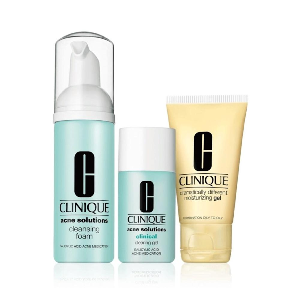 "<p>Clinique's Acne Solutions Fix It Kit includes the Acne Solutions Cleansing Foam, Acne Solutions Clinical Clearing Gel, both of which fight breakouts with <a href=""https://www.allure.com/story/what-does-salicylic-acid-do?mbid=synd_yahoo_rss"">saliyclic acid</a>. ""Salicylic acid dries out excessive sebum, lightens pigmentation, and smoothes out dead skin,"" says Rabach, who recommends the ingredient to those who have very large pores and especially oily skin. Along with Dramatically Different Moisturizing Gel, the set is an acne-fighting lineup designed to help clear blemishes, unclog pores, and reduce excess oil, all while hydrating the skin. The best part? It's travel-sized — because there's nothing worse than being unprepared for a breakout on vacation.</p> <p><strong>$28</strong> (<a href=""https://www.clinique.com/product/1685/31812/skin-care/gifts/skincare-gifts-sets/acne-solutionstm-fix-it-kitt"" rel=""nofollow"">Shop Now</a>)</p>"
