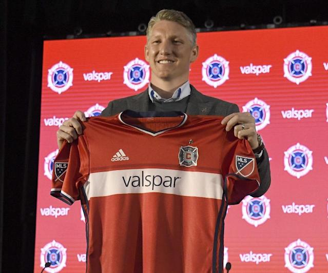 Chicago Fire introduce Bastian Schweinsteiger during a press conference on March 29, 2017 at the The PrivateBank Fire Pitch in Chicago, Illinois (AFP Photo/DAVID BANKS)