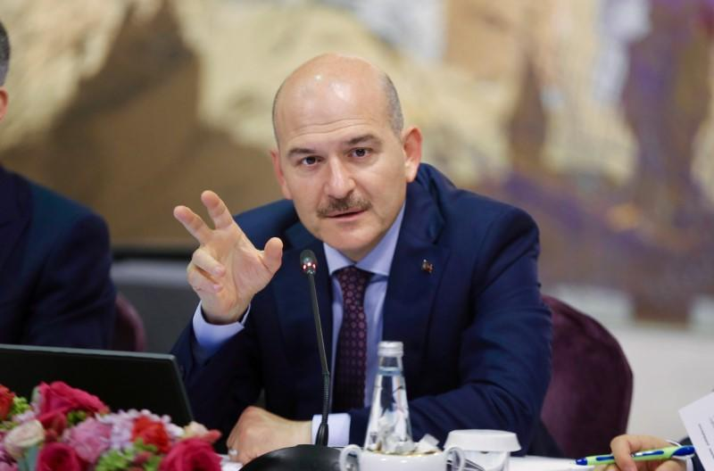 Turkish Interior Minister Soylu speaks during a news conference in Istanbul