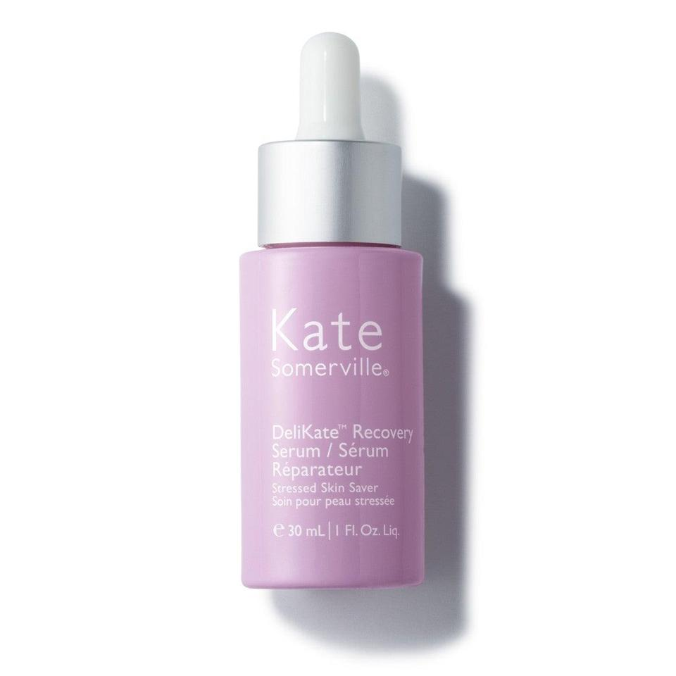"""<h3>Kate Somerville DeliKate Recovery Serum</h3> <br>""""I don't know how much I believe in stress-induced inflammation as the root cause of all human suffering, but it is definitely the cause of my skin's general irritability right now. (Or one of the causes, at least — all that frozen cauliflower pizza-eating and red wine-drinking isn't happening in a vacuum.) This soothing serum has been my go-to as an instant salve for any redness or flare-ups. Featuring calming cucumber seed oil and loads of strengthening ceramides, it's the perfect lightweight layer for putting angry skin in its place."""" — Krause<br><br><strong>Kate Somerville</strong> DeliKate Recovery Serum, $, available at <a href=""""https://go.skimresources.com/?id=30283X879131&url=https%3A%2F%2Fwww.katesomerville.com%2Fdelikate-recovery-face-serum-for-sensitive-skin"""" rel=""""nofollow noopener"""" target=""""_blank"""" data-ylk=""""slk:Kate Somerville"""" class=""""link rapid-noclick-resp"""">Kate Somerville</a><br>"""