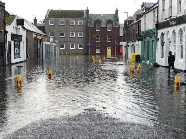 Flooding in Stonehaven, Aberdeenshire, in Scotland