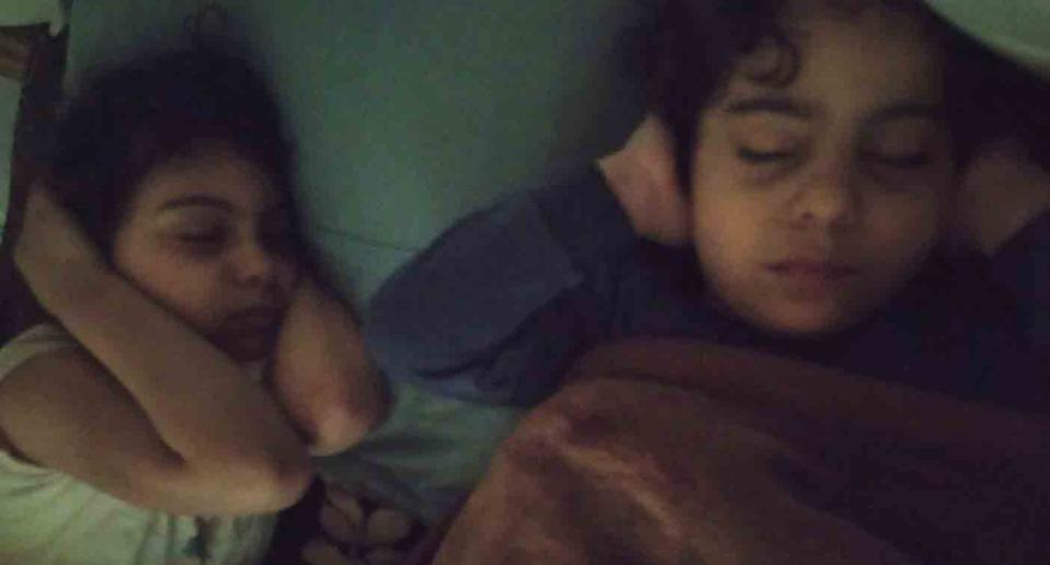 A mother in Gaza reprotedly posted this photo as her children tried to sleep