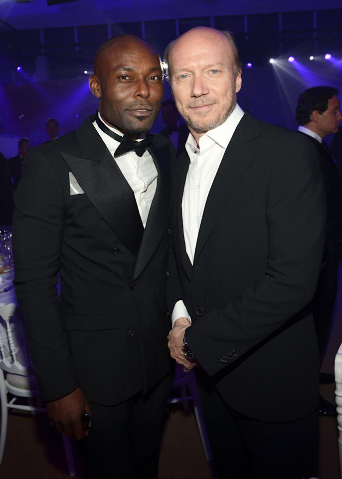 CANNES, FRANCE - MAY 18:  Jimmy Jean Louis and Paul Haggis attends the Haiti Carnival in Cannes Benefitting J/P HRO, Artists for Peace and Justice & Happy Hearts Fund Presented By Armani during the 65th Annual Cannes Film Festival on May 18, 2012 in Cannes, France.  (Photo by Michael Buckner/Getty Images)