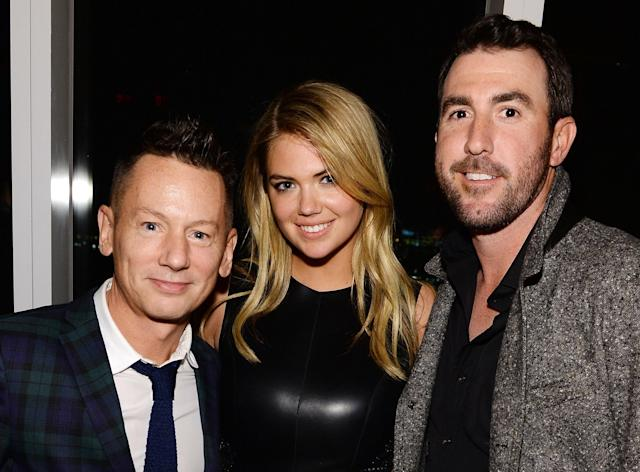 NEW YORK, NY - JANUARY 31: Editor-in-chief of GQ Jim Nelson, model Kate Upton, and professional baseball player Justin Verlander attend the GQ Super Bowl Party 2014 sponsored by Patron Tequila, Van Heusen, and Miller Fortune on January 31, 2014 in New York City. (Photo by Dimitrios Kambouris/Getty Images for GQ)