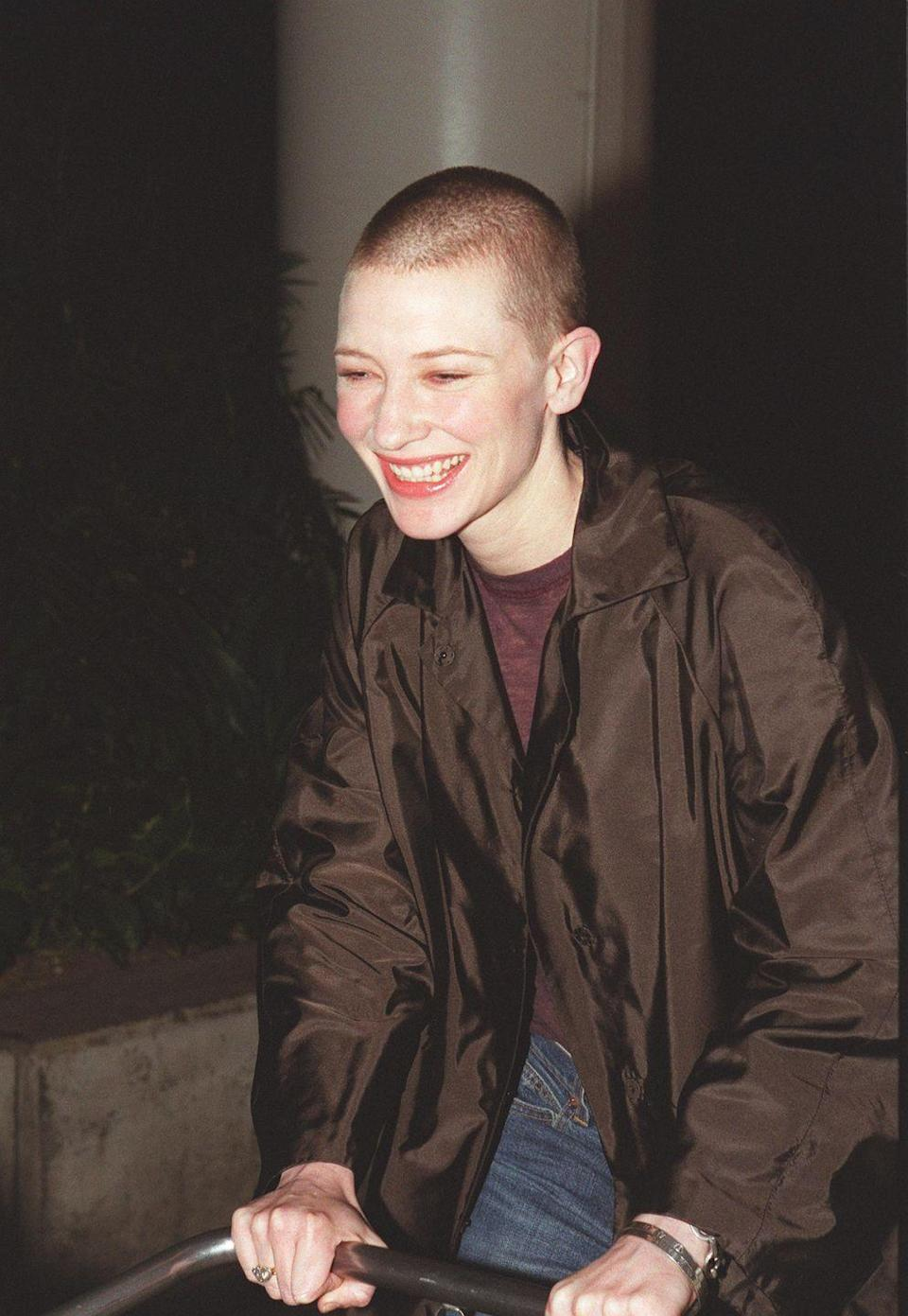 <p>Proving that she is one of Hollywood's most talented chameleons, Cate Blanchett showed off her freshly shaved head after filming the 2002 film, <em>Heaven</em>.  </p>