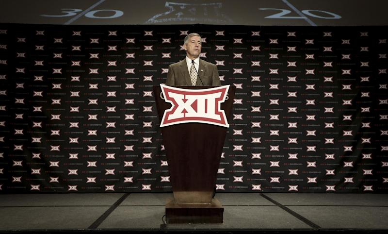 Big 12 commissioner Bob Bowlsby speaks at the opening of the NCAA college Big 12 Conference football media days in  Dallas, Monday, July 21, 2014