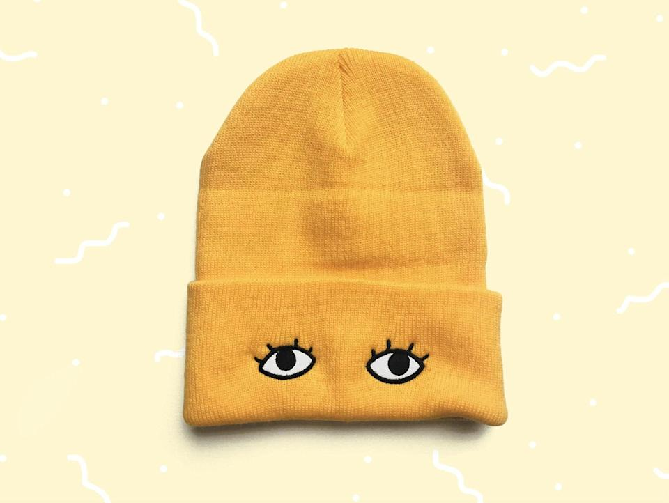 <p>Top off your look with this playful <span>Knit Beanie</span> ($16).</p>