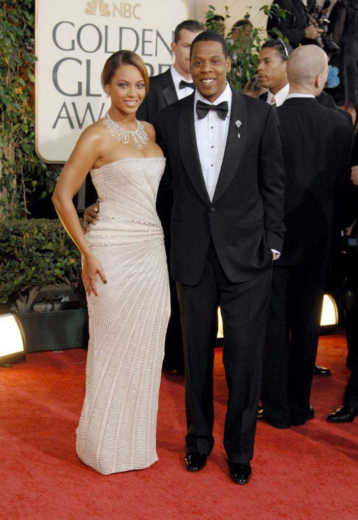 <p>The couple attended the awards (with Bey wearing a strapless gown by Elie Saab) where Beyoncé was nominated for Best Original Song for 'Once In A Lifetime' from the movie Cadillac Records.</p>