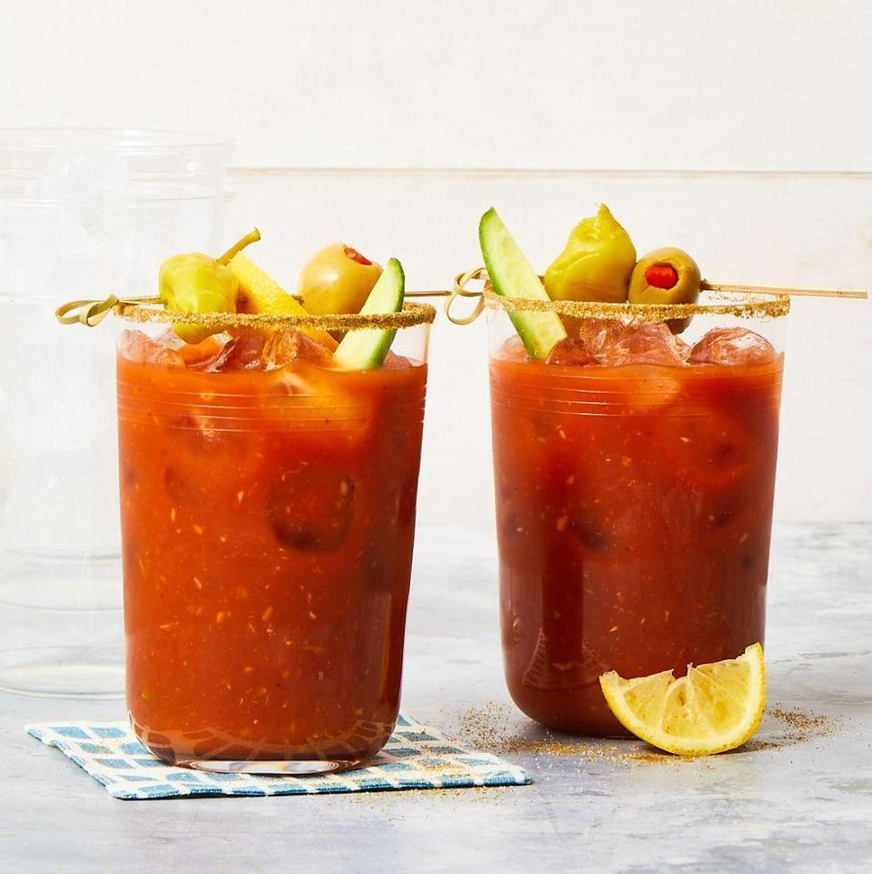 """<p>The savory Bloody Mary has nursed (or created) many a hangover. The original was served by the bartender at the King Cole Bar in New York's St Regis Hotel as early as 1934 and was known for some years as a Red Snapper (the owner of the hotel reportedly didn't like the original — and now current — name.)</p><p><em><a href=""""https://www.goodhousekeeping.com/food-recipes/party-ideas/a35866805/bloody-mary-recipe/"""" rel=""""nofollow noopener"""" target=""""_blank"""" data-ylk=""""slk:Get the recipe for Bloody Mary »"""" class=""""link rapid-noclick-resp"""">Get the recipe for Bloody Mary »</a></em></p>"""