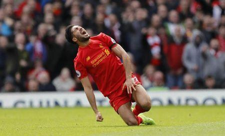 Britain Soccer Football - Liverpool v Everton - Premier League - Anfield - 1/4/17 Liverpool's Emre Can after being fouled by Everton's Ashley Williams (not pictured) Action Images via Reuters / Carl Recine Livepic