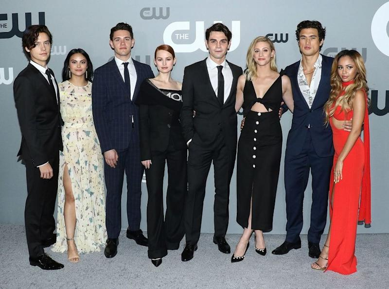Cole Sprouse, Camila Mendes, Casey Cott, Madelaine Petsch, KJ Apa, Lili Reinhart, Charles Melton and Vanessa Morgan attend the 2018 CW Network Upfront. | Jim Spellman/WireImage