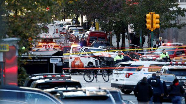 PHOTO: A Home Depot truck which drove down the bike path alongside the West Side Highway at full speed and hit several people is seen as New York City first responders are at the crime scene in lower Manhattan in New York, Oct. 31, 2017. (Brendan McDermid/Reuters)