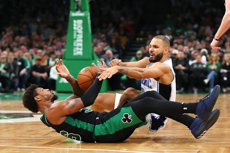 BOSTON, MASSACHUSETTS - APRIL 7: Evan Fournier # 10 of the Orlando Magic and Marcus Smart # 36 of the Boston Celtics fight at TD Garden in April for a laid-back ball 07, 2019 in Boston , Massachusetts. NOTICE TO USER: The user expressly acknowledges and agrees that the user agrees to the terms and conditions of the Getty Images License Agreement by downloading and / or using this photo. (Photo by Maddie Meyer / Getty Images)