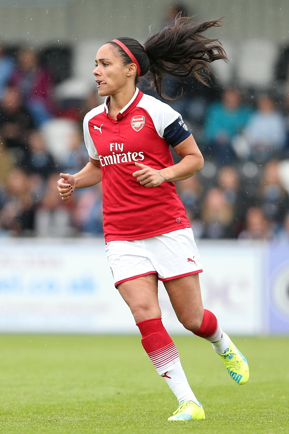 BOREHAMWOOD, ENGLAND - MAY 12: Alex Scott of Arsenal during the Womens Super League match between Arsenal Ladies and Manchester City Women at Meadow Park on May 12, 2018 in Borehamwood, England. (Photo by Charlotte Wilson/Offside/Getty Images)