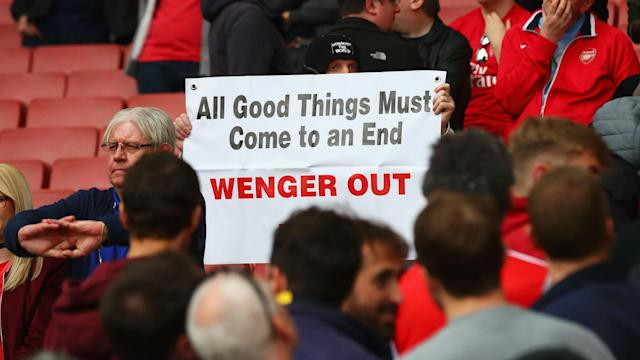 Emirates Stadium and the old Highbury facade were targeted by Arsenal fans calling for long-time boss Arsene Wenger to stand down.