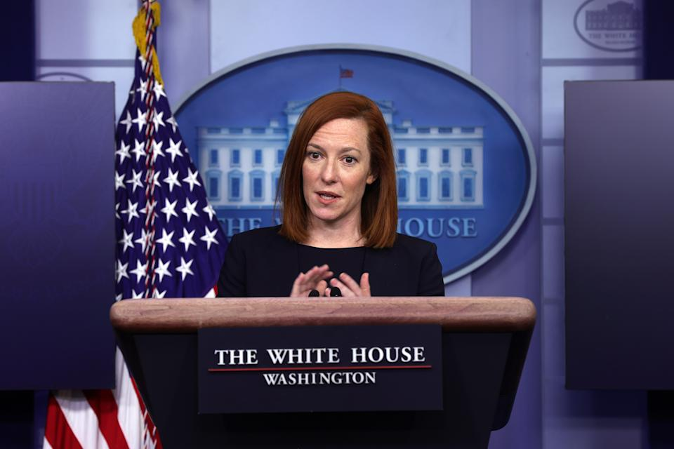White House Press Secretary Jen Psaki speaks during a news briefing at the James Brady Press Briefing Room of the White House February 12, 2021 in Washington, DC. (Alex Wong/Getty Images)