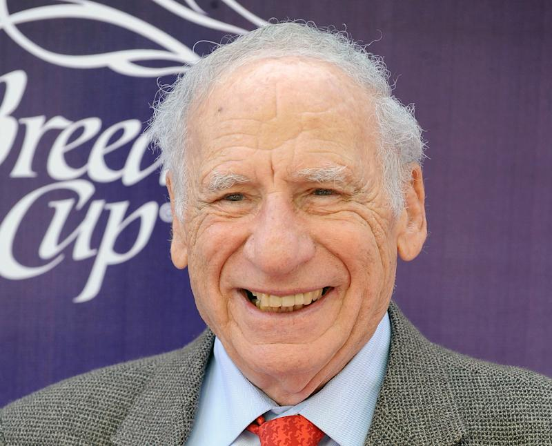 FILE - This Nov. 7, 2009 file photo originally released by the Breeders' Cup shows Mel Brooks arriving at the 26th Running of the Breeders' Cup World Championships in Santa Anita, Calif. The American Film Institute announced Friday Oct. 5, 2012 that Brooks will be honored with the 41st AFI Life Achievement Award, the highest honor for a career in film. The award will be presented to Brooks at a gala tribute on June 6, 2013 in Los Angeles. (AP Photo/Breeders' Cup, Katy Winn, file)