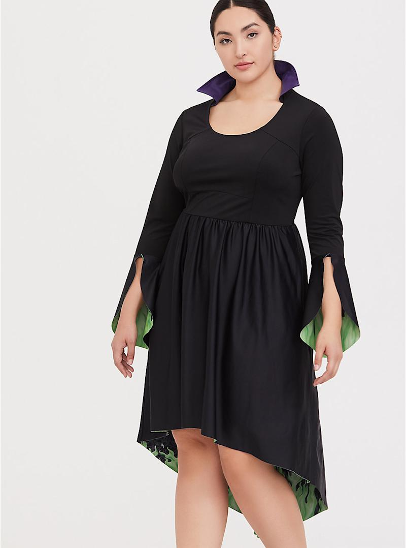 MALEFICENT BLACK & GREEN HI-LO SKATER DRESS