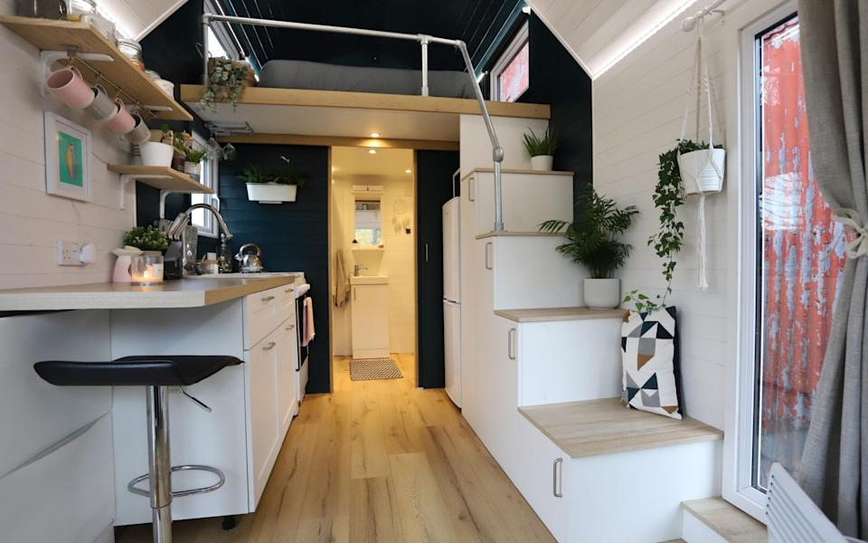 Calm and peaceful: the interior of Grace and Craig's tiny home near Droitwich in Worcestershire - John Lawrence