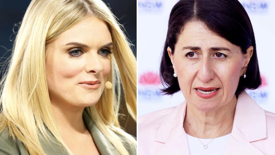 Erin Molan and Gladys Berejiklian, pictured here in 2020.