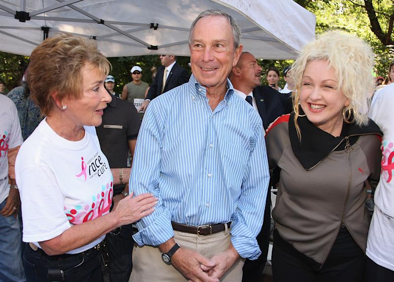 NEW YORK - SEPTEMBER 13: (L-R) Judge Judy Sheindlin, Mayor Michael Bloomberg and Cyndi Lauper attend the 2009 Koman New York City Race For The Cure in Central Park on September 13, 2009. (Photo by Theo Wargo/Getty Images)