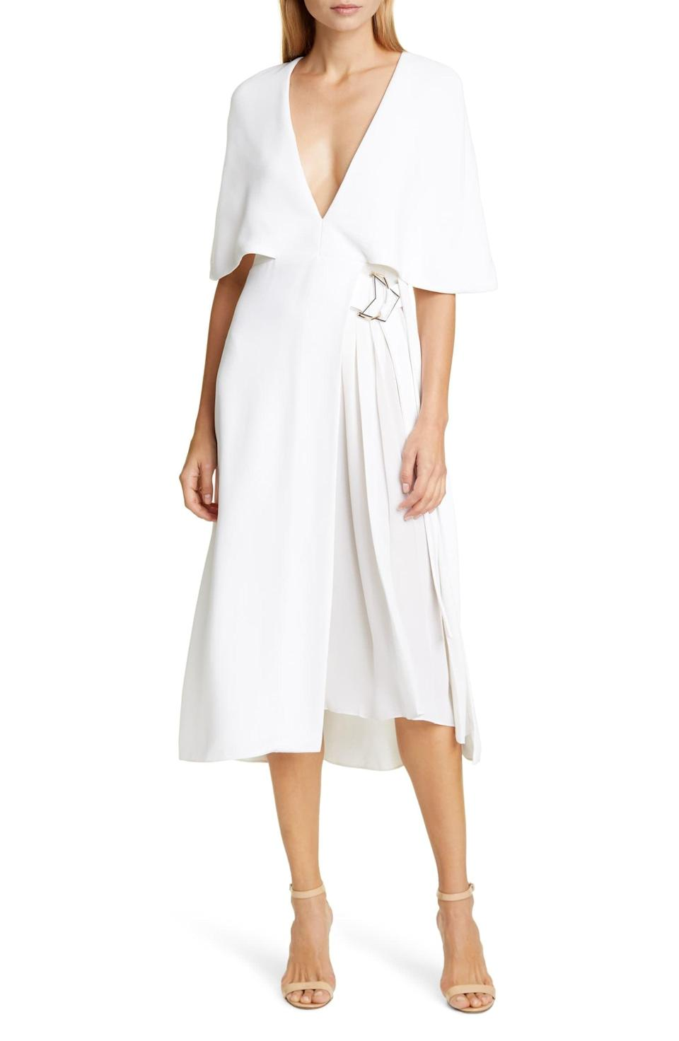 <p>The plunging neckline on this <span>Cushnie Cape Sleeve Pleat Panel Midi Dress</span> ($1,017, originally $1,695) is so good.</p>