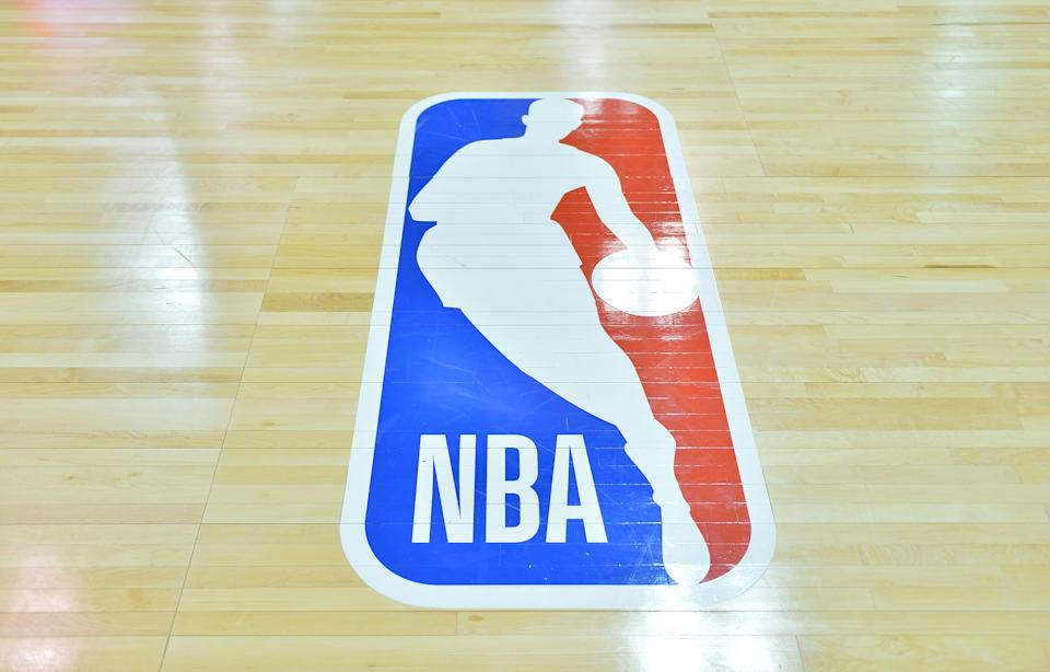 LAS VEGAS, NV - JULY 09:  A general view of the court shows the NBA logo during a game between the Sacramento Kings and the Memphis Grizzlies during the 2017 NBA Summer League at the Cox Pavilion on July 9, 2017 in Las Vegas, Nevada. The NBA unveiled a refreshed logo during the 2017 Las Vegas Summer League. A modified version of Action font, customized for the league, will be used for the letters N-B-A in the primary logo. NOTE TO USER: User expressly acknowledges and agrees that, by downloading and or using this photograph, User is consenting to the terms and conditions of the Getty Images License Agreement.  (Photo by Sam Wasson/Getty Images)