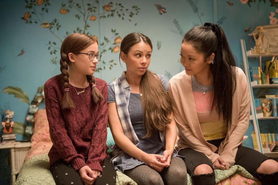 Lara Jean Covey and her little sister and her friend in To All the Boys I've Loved Before.