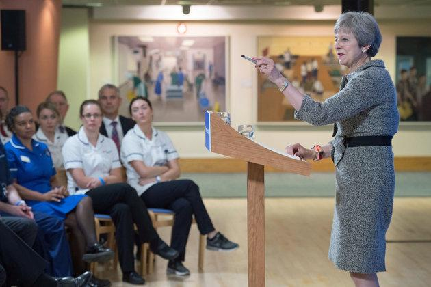 Prime Minister Theresa May making a speech at the Royal Free Hospital, north London, following the announcement of increased NHS funding.