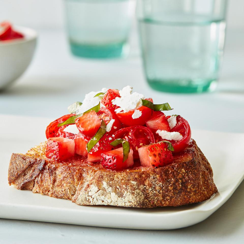 <p>These topped toasts get a sweet-salty punch from the addition of strawberries and ricotta salata-a firm, saltier version of ricotta cheese. Look for it with other specialty cheeses at the supermarket, or substitute Parmigiano-Reggiano or pecorino.</p>