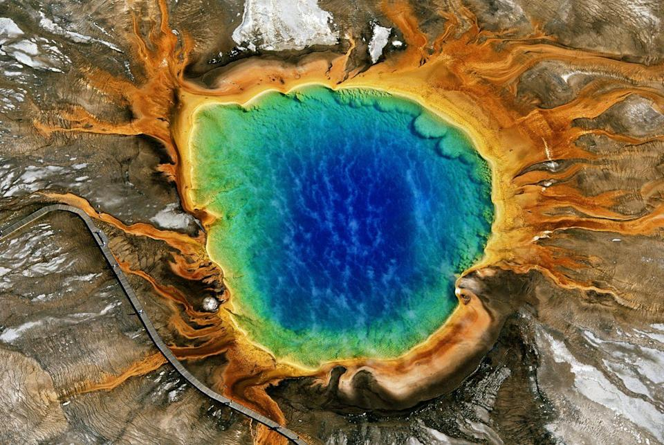 <p>An aerial view of Grand Prismatic Spring in Yellowstone National Park, Wyoming, USA.</p>
