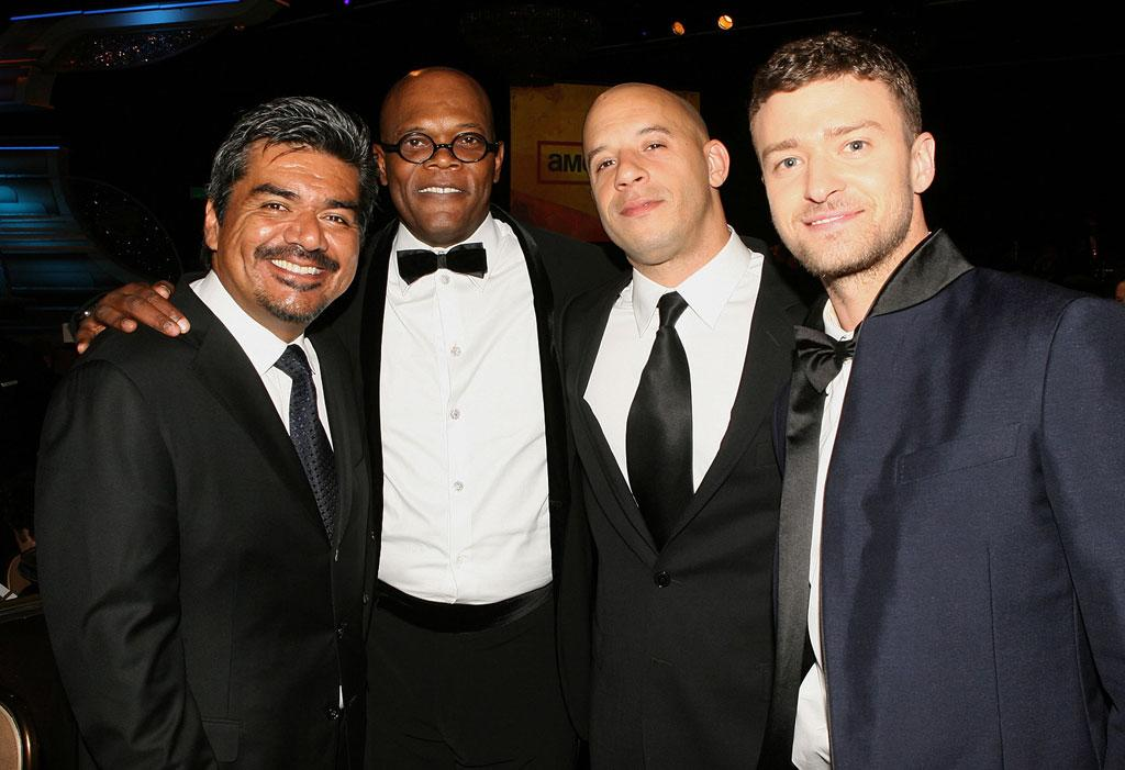 """<a href=""""http://movies.yahoo.com/movie/contributor/1802477849"""">George Lopez</a>, <a href=""""http://movies.yahoo.com/movie/contributor/1800018848"""">Samuel L. Jackson</a>, <a href=""""http://movies.yahoo.com/movie/contributor/1800020716"""">Vin Diesel</a> and <a href=""""http://movies.yahoo.com/movie/contributor/1802867309"""">Justin Timberlake</a> at the 23rd Annual American Cinematheque Awards in Beverly Hills - 12/01/2008"""