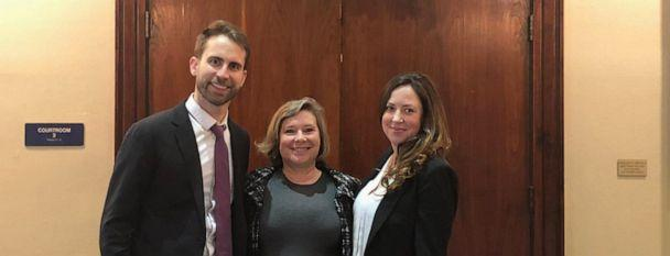 PHOTO: Julie Hilberg, center, stands outside a Texas courtroom with Campaign Legal Center lawyers Mark Gaber, left, and Molly Danahy. (Campaign Legal Center)
