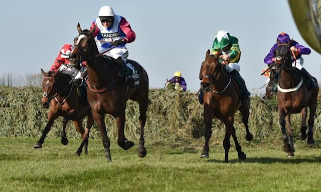 """<span class=""""element-image__caption"""">One For Arthur, ridden by Derek Fox, leads the field in the closing stages on the way to victory in the Grand National.</span> <span class=""""element-image__credit"""">Photograph: Peter Haygarth/Action Plus via Getty Images</span>"""