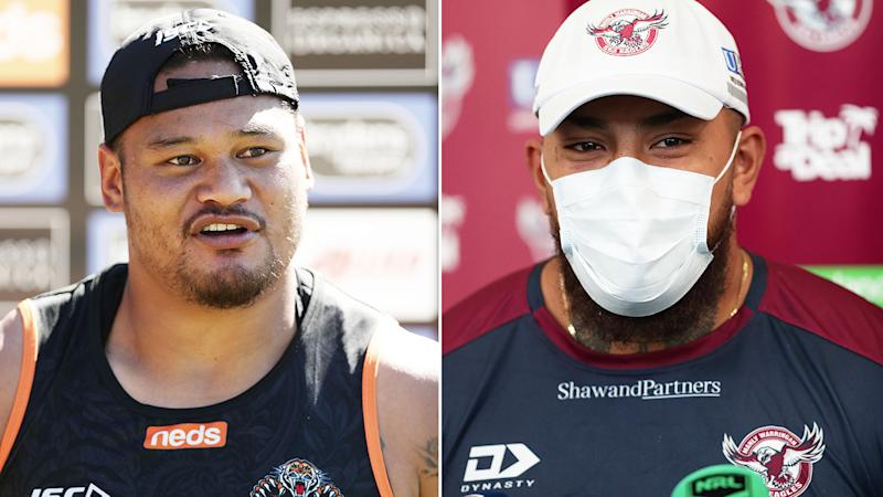 Pictured left, Wests Tigers centre Joey Leilua and Manly's Addin Fonua-Blake.