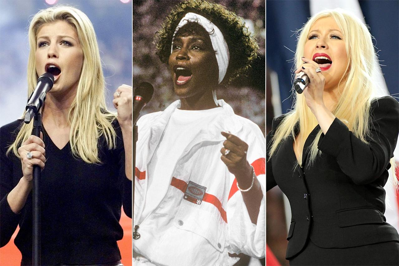 """With <a href=""""http://ew.com/tag/demi-lovato"""">Demi Lovato</a> announced as the <a href=""""https://ew.com/music/2020/01/16/demi-lovato-super-bowl-2020-national-anthem/"""">national anthem singer</a> for Super Bowl LIV, we can look forward to a powerhouse performance in February. Still, not everyone who's had that responsibility has lived up to expectations. While we've watched artists like Whitney Houston and Beyonce dazzle the audience, we've also seen (quite talented) musicians like Christina Aguilera do too much and blow their shot. But good or bad, at least they're not forgettable. Click through the rest of the gallery to see the most memorable Super Bowl national anthems."""