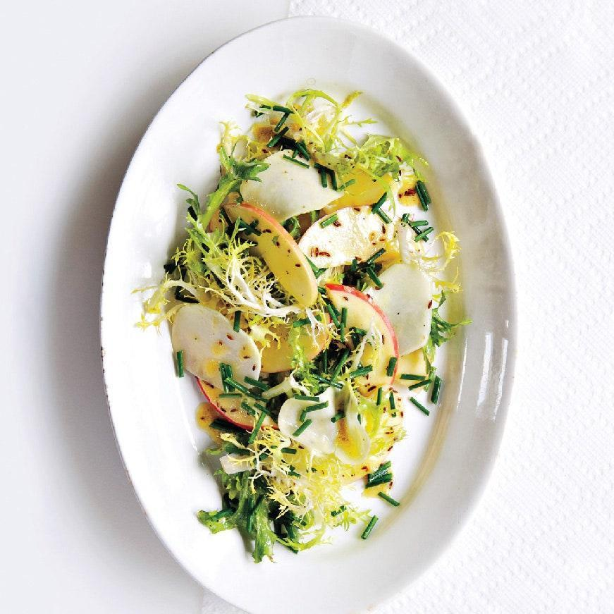 """While caraway isn't commonly used at Thanksgiving, its sour-earthy flavor (think rye bread) is a great match for the holiday table. <a href=""""https://www.epicurious.com/recipes/food/views/kohlrabi-and-apple-salad-with-caraway-51193090?mbid=synd_yahoo_rss"""" rel=""""nofollow noopener"""" target=""""_blank"""" data-ylk=""""slk:See recipe."""" class=""""link rapid-noclick-resp"""">See recipe.</a>"""