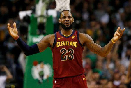 FILE PHOTO: May 13, 2018; Boston, MA, USA; Cleveland Cavaliers forward LeBron James (23) reacts to not getting a foul called during the third quarter of the Eastern conference finals of the 2018 NBA Playoffs against the Boston Celtics at TD Garden. Mandatory Credit: Winslow Townson-USA TODAY Sports/File Photo